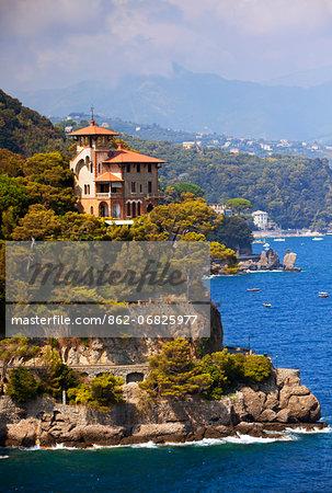 Northern Italy, Italian Riviera, Liguria, Portofino. A castle overlooking the sea in portofino