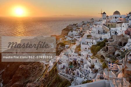 Sunset in Oia,Santorini, Kyclades,South Aegean, Greece,Europe