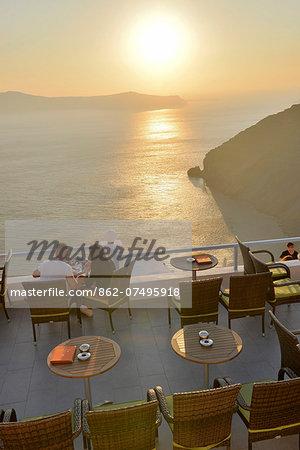 Restaurant sun deck in thira, Santorini, Kyclades, South Aegean, Greece, Europe