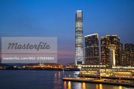 International Commerce Centre (ICC) at dusk, West Kowloon, Hong Kong