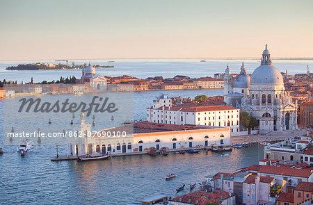 Italy, Veneto, Venice. The Church of Santa Maria della Salute and the Punta della Dogana. UNESCO.