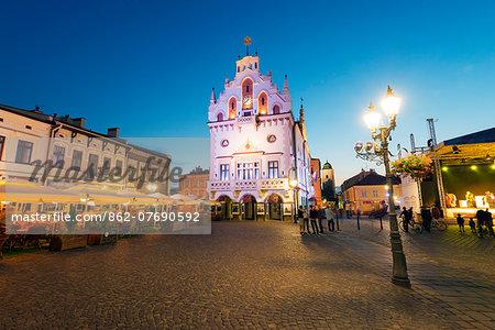 Europe, Poland, Rzeszow, rynek town square, Neo-Gothic style town hall