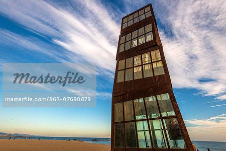 Estel Ferit sculpture by Rebecca Horn, Barceloneta beach, Barcelona, Catalonia, Spain