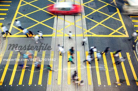 Hong Kong, China. High angle view of street in Hong Kong island