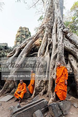 Cambodia, Siem Reap, Angkor Wat complex. Monks inside Ta Prohm temple (MR)
