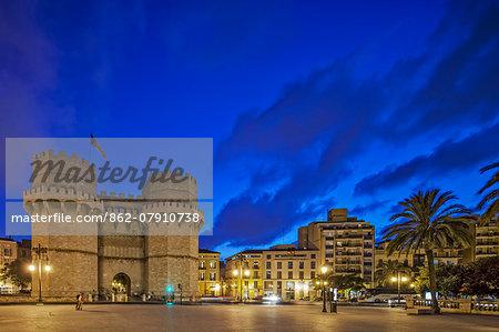 Twilight view of the Porta de Serrans, Torres de Serranos / Serano Gate, located in, Valencia, Valencian Community, Spain.