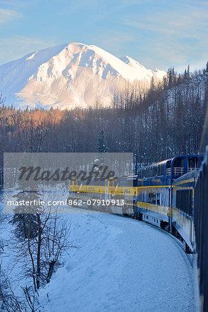 Alaska Railroad trip from Anchorage to Fairbanks in the winter, Alaska, USA
