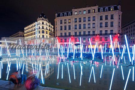 Europe, France, Rhone-Alpes, Lyon, Fete des Lumieres, festival of lights