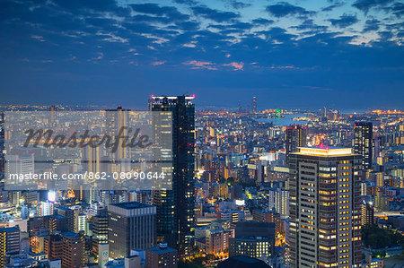 View of Osaka at dusk, Kansai, Japan