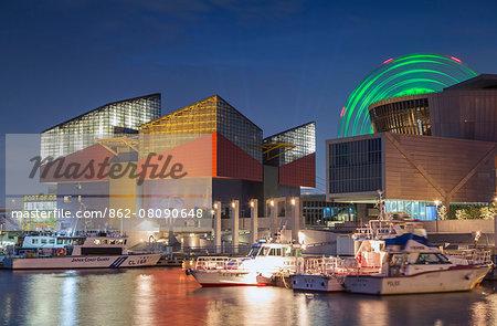 Osaka Aquarium, Suntory Museum and Ferris wheel at dusk, Tempozan, Osaka, Kansai, Japan