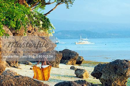 South East Asia, Philippines, The Visayas, Cebu, Moalboal, a girl on Panagsama Beach (MR)