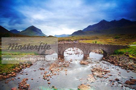 UK, Scotland, Inner Hebrides, Isle of Skye. Sligachan Bridge and Mountains in the background.