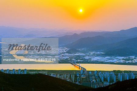 Asia, Republic of Korea, South Korea, Busan, sunset over Busan