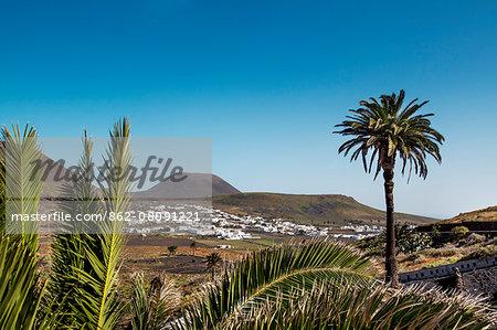 View towards vulcano Monte Corona, Risco de Famara, Lanzarote, Canary Islands, Spain