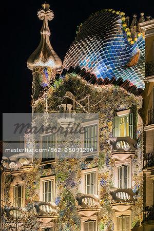 Close-up view of the facade of Casa Batllo by Antoni Gaudi at night, Barcelona, Catalonia, Spain