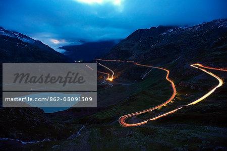Europe, Switzerland, Europe, Switzerland, canton of Bern, Sustenpasse, winding mountain road