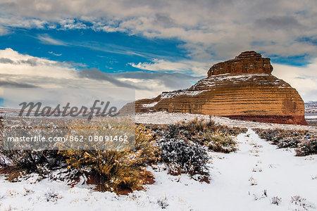Snowy desert landscape, Utah, USA