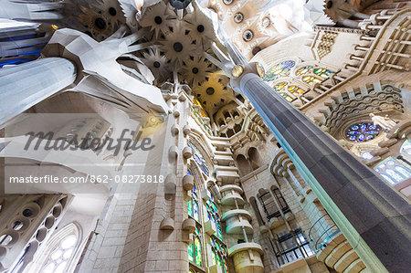 Barcelona, Spain. Sagrada Familia interior, building ideated by modernist architect Antonio Gaudi