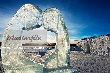 Arctic Circle, Lapland, Scandinavia, Sweden, Kiruna, Ice Hotel, ice sculpture