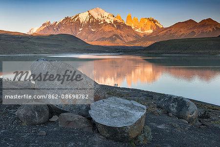 South America, Patagonia, Chile, Region de Magallanes y de la Antartica, Torres del Paine National Park, first light on the Torres del Paine