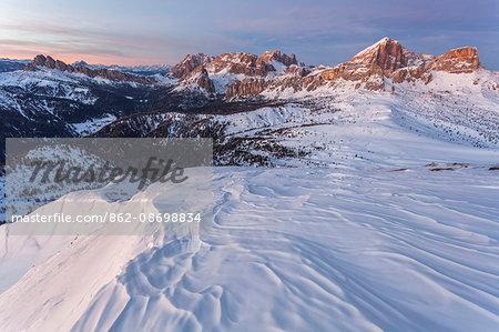 Europe, Italy, Veneto, Belluno. Winter view from Mount Pore northward, Dolomites