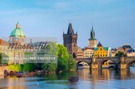 Czech Republic, Prague, Mala Strana. View of Charles Bridge and Old Town Bridge Tower on the Vltava River.