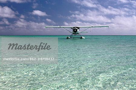 A floatplane on the lagoon (or reef flat) of Heron Island on the Great Barrier Reef, Queensland, Australia