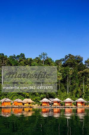 South East Asia, Thailand, Surat Thani province, Khao Sok National Park, floating bungalows on Ratchaprapa reservoir