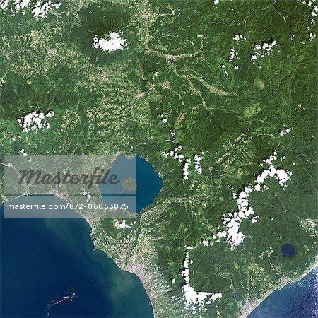 Usu Volcano, Japan, True Colour Satellite Image. Usu Volcano, Japan, true colour satellite image. Usu is a volcano (737m) located on the Southern rim of Lake Toya on Hokkaido island. Image taken on 9 August 1999 using LANDSAT data. Print size 30 x 30 cm.