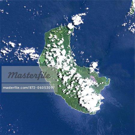Yasur Volcano, Vanuatu, Pacific, True Colour Satellite Image. Yasur volcano, Vanuatu, true colour satellite image. Yasur (365m) is a small active volcano on Tanna island, in Vanuatu. Composite image dated 1999-2000 using LANDSAT data. Print size 30 x 30 cm.