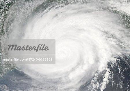 Hurricane Gustav, Louisiana, Us, In 2008, True Colour Satellite Image. Hurricane Gustav on 1st September 2008 over the coast of Louisiana, US. True-colour satellite image using MODIS data.
