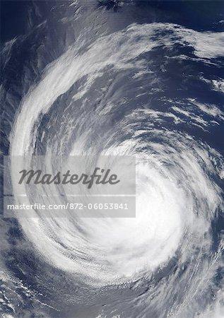 Hurricane Hernan, Pacific Ocean, On 03/09/2002, True Colour Satellite Image. Hurricane Hernan on 3 September 2002 over the Pacific ocean. True-colour satellite image using MODIS data.