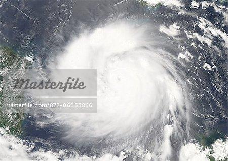 Hurricane Felix, West Caribbean, In 2007, True Colour Satellite Image. Hurricane Felix on 3 September 2007 in the western Caribbean, nearing Central America and the coast of Nicaragua. True-colour satellite image using MODIS data.