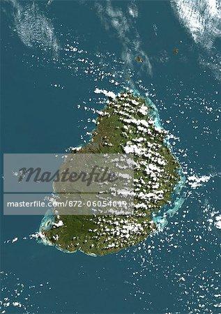 Mauritius, True Colour Satellite Image. Mauritius, true colour satellite image, taken on 19 August 1999, by the LANDSAT 7 satellite.