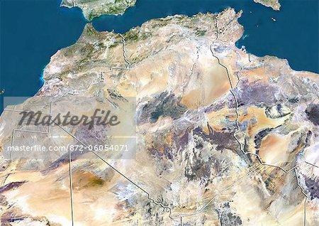 Algeria, True Colour Satellite Image With Border