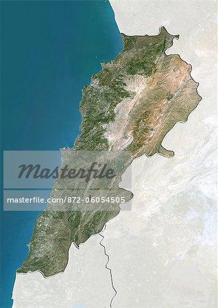 Lebanon, True Colour Satellite Image With Border and Mask