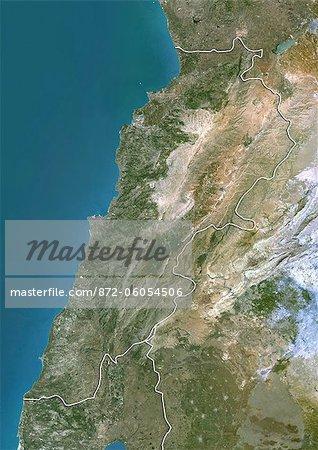 Lebanon, True Colour Satellite Image With Border