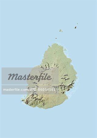 Mauritius, Relief Map
