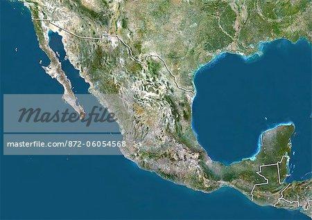 Mexico, True Colour Satellite Image With Border