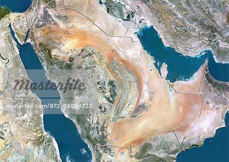 Saudi Arabia, True Colour Satellite Image With Border