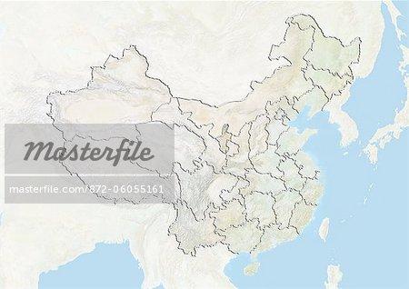 Ningxia China Map.China And The Region Of Ningxia Hui Relief Map Stock Photo