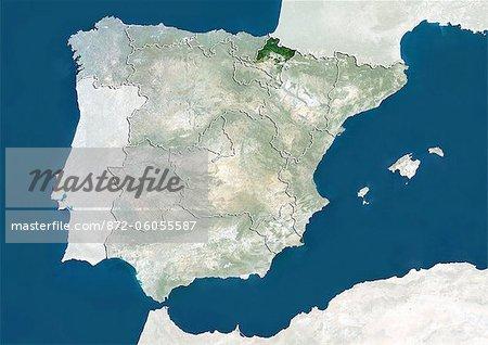 Spain and the Region of Navarre, True Colour Satellite Image