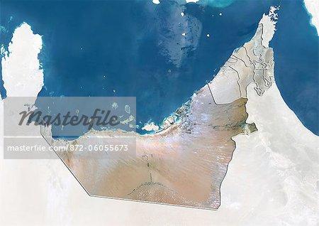 United Arab Emirates and the Emirate of Abu Dhabi, True Colour Satellite Image