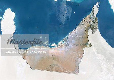 United Arab Emirates, True Colour Satellite Image With Emirate Boundaries