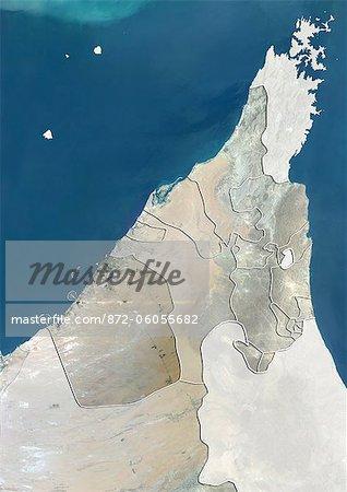 The Emirate of Dubai and Northern UAE, True Colour Satellite Image
