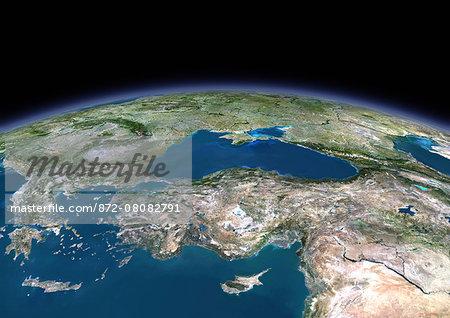 3D satellite image of Turkey and the Black Sea.