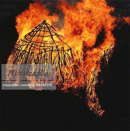 Bushman Hut on Fire