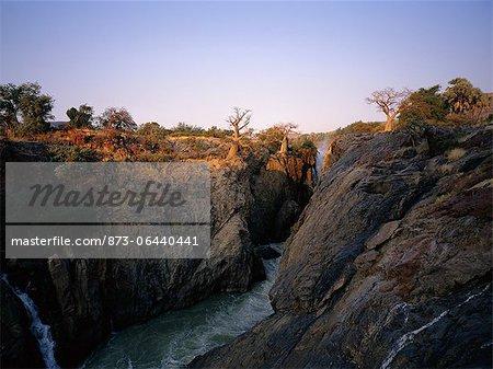 Landscape and Epupa Falls Kunene River, Namibia, Africa