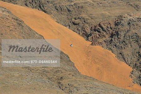 Aerial View of Safari Vehicle Kunene River, Namibia Africa