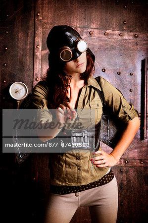 woman aviator steampunk